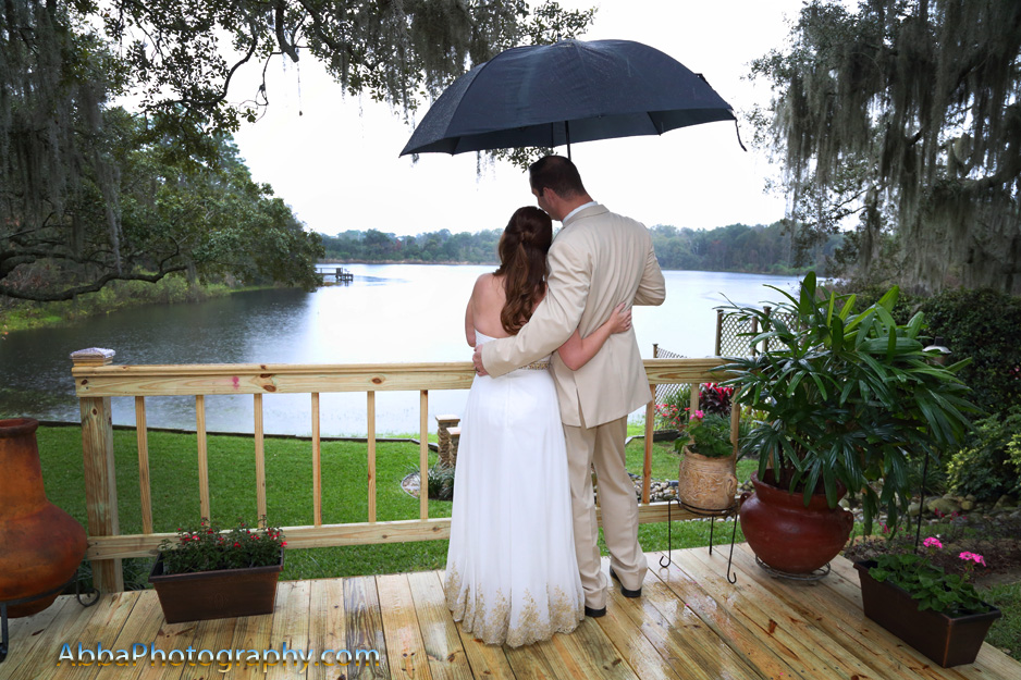 Rainy wedding day photo